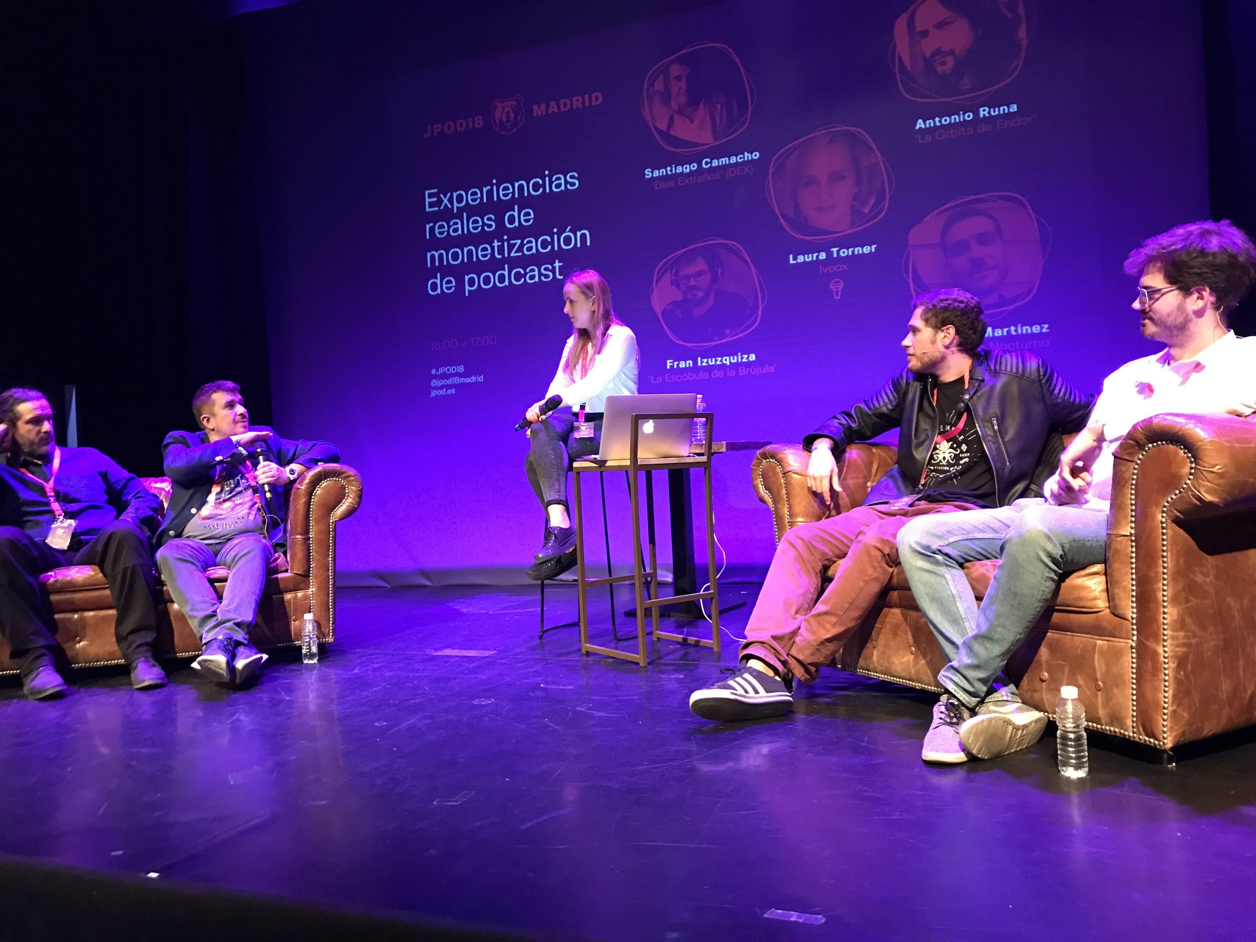 Ivoox expuso en JPOD18 varios experiencias reales de monetización de podcast con La órbita de Endor, Días Extraños, Noviembre Nocturno y La escóbula de la brújula.