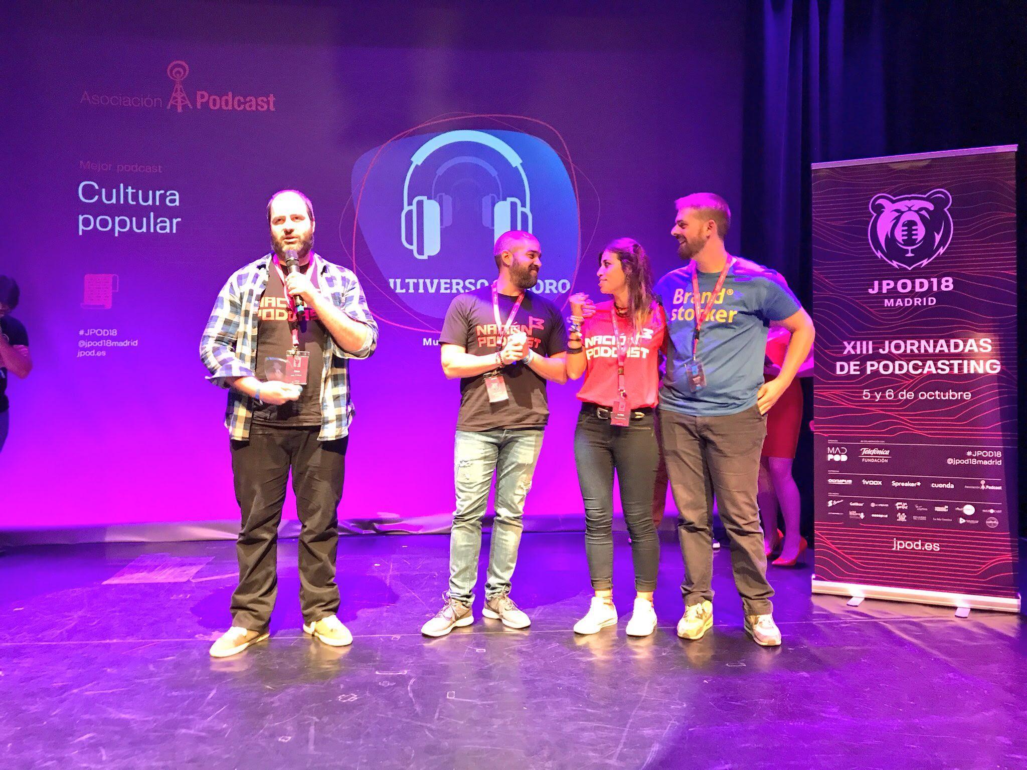 Foto: Alfonso Buenavista - Multiverso Sonoro, ganadores del premio al Mejor Podcast de Cultura Popular 2018 en la IX Edición de los premios de la Asociación Podcast.