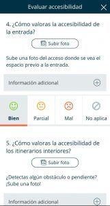 Captura de la aplicación mapcesible donde muestra alguna de las puntos a evaluar