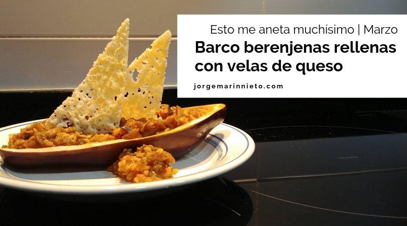 Berenjenas rellenas de arroz con verduras y velas de crujiente de queso imagen para redes sociales